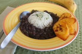 Cuban Black Beans and Rice with Fried Plantains