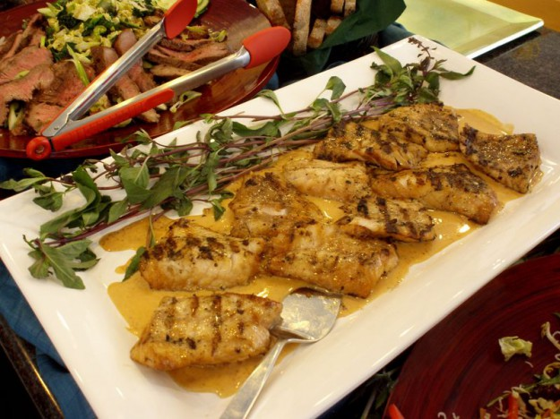 Grilled Rock Cod with Thai Red Curry Sauce