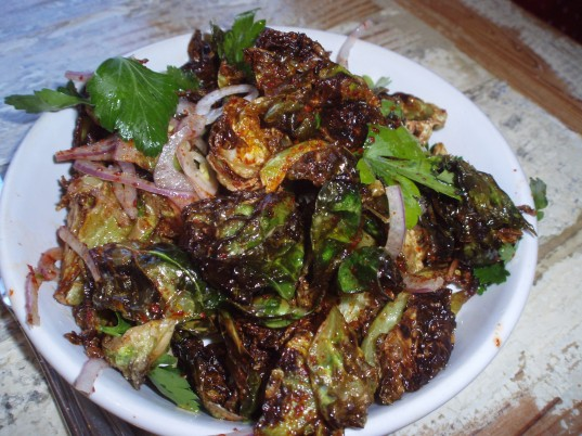 Fried Brussles Sprouts with Chile Vinaigrette