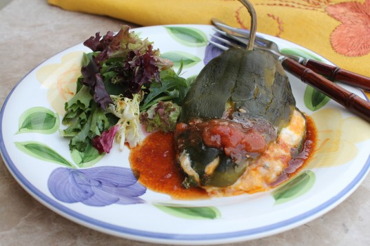 Crab Stuffed Chile with Roasted Tomato Vinaigrette