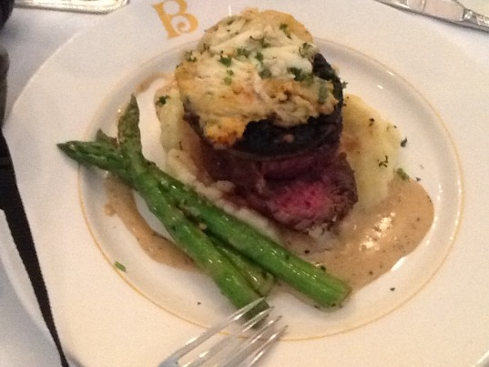 Filet Mignon with Crabmeat Stuffed Portobello