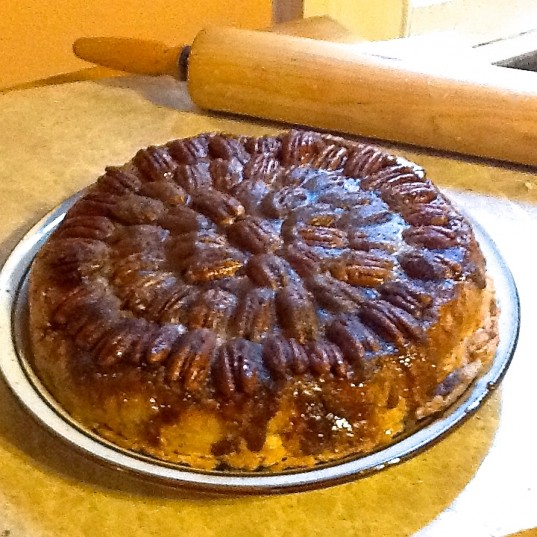 Upside Down Peach Pecan Pie