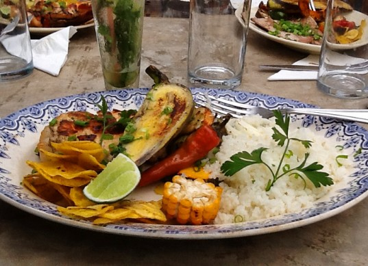 Grilled Veggies and Lobster at El Del Frente