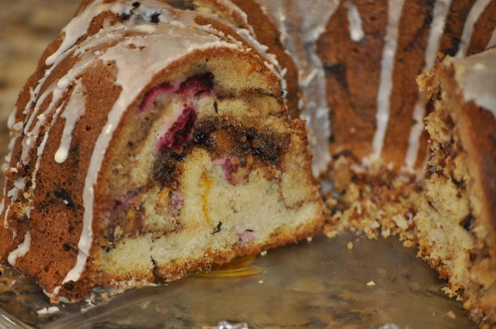 Cranberry Orange Sour Cream Coffee Cake w: Cinnamon Streusel