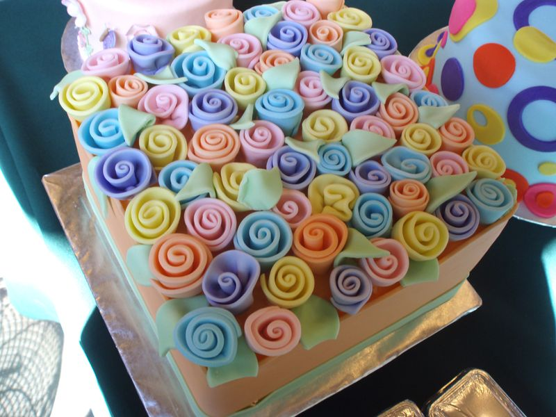 Fondant Ribbon Rose Cake