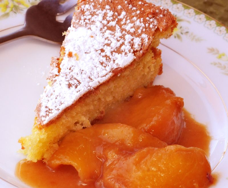 Olive Oil Cake with Peaches