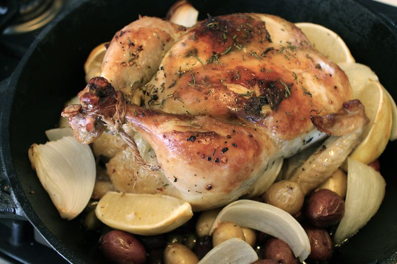 Roast Chicken with Lemon, Olives, Garlic and Pee Wee Potatoes