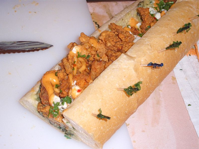 Oyster Po' Boy with Spinach and Artichoke