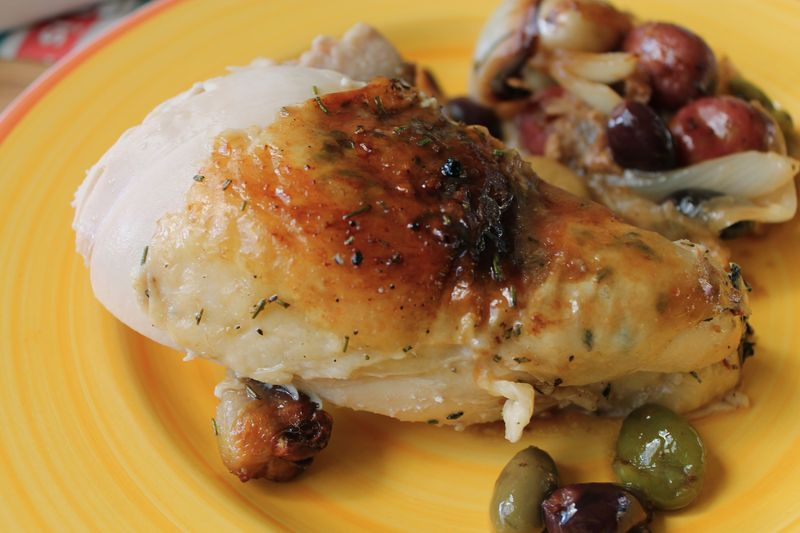 Roast chicken Breast with Olives, Garlic, Lemon and Pee Wee Potatoes