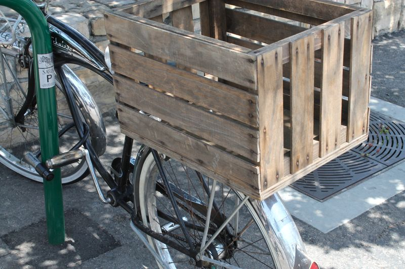 Wooden Shopping Cart on Back of Bike