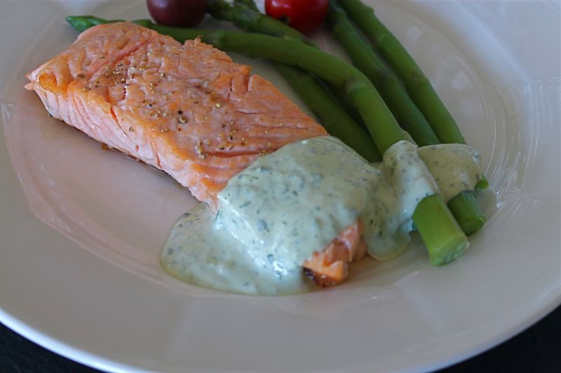 Salmon and Asparagus with Green Goddess Dressing