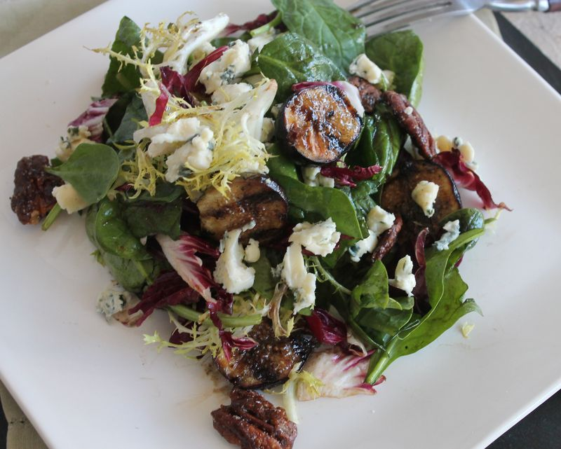 Grilled Fig, Blue Cheese and Pecan Salad