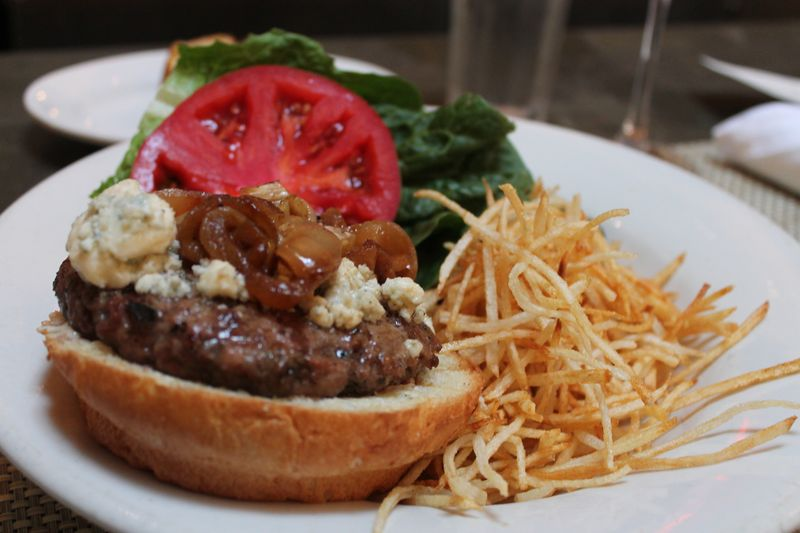 LambBurger with Grilled Onions and Blue Cheese