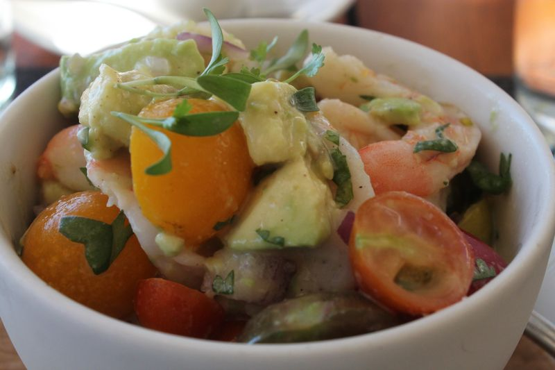 Shrimp Ceviche with  Avocadoes and Heirloom Cherry Tomatoes