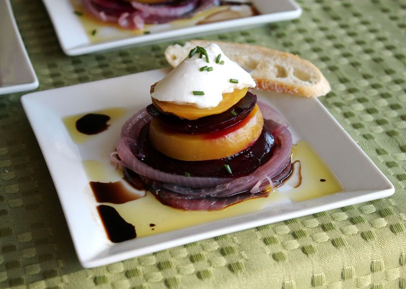 Roasted Beets with Burrata and Pickled Onions