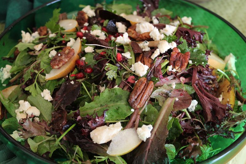 Holiday Salad with Asian Pears, Pomegrante Seeds Spiced Pecans and Blue Cheese