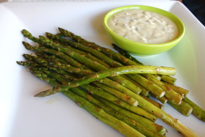 Roasted Asparagus with Lemon Caper Mayonaisse