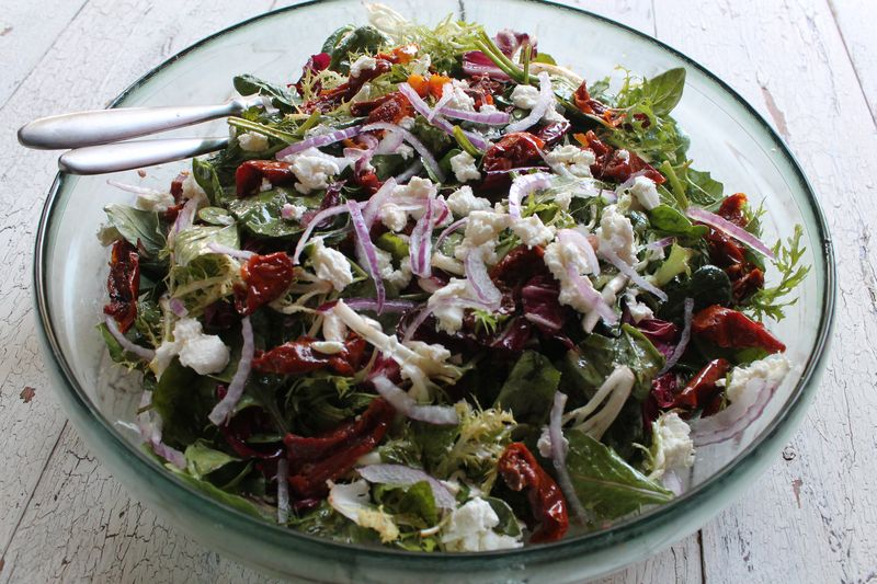 Mixed Greens with Oven Roasted Tomatoes and Goat Cheese