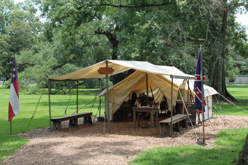 Rebuilt encampment for soldiers