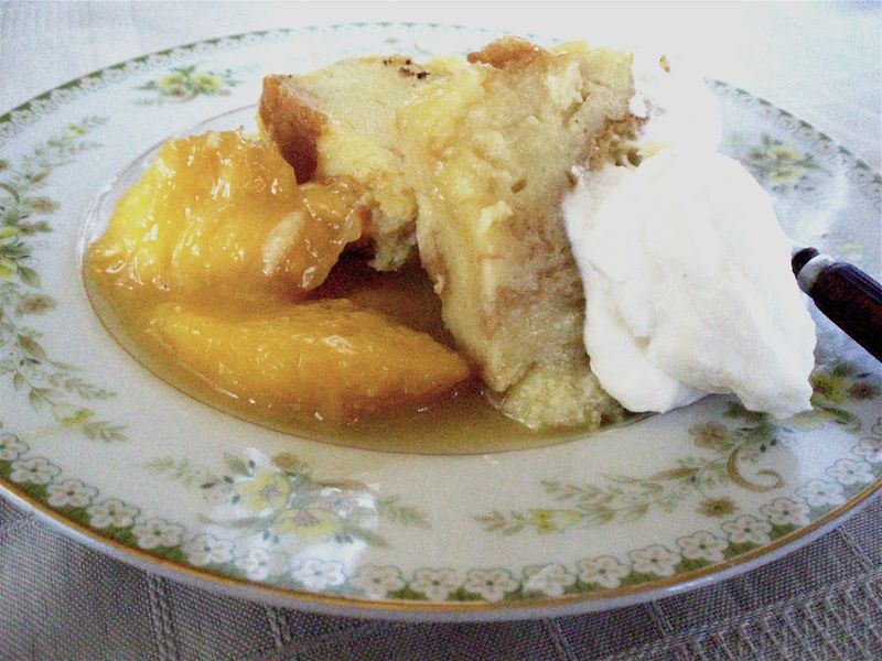 Bread Pudding with Brandied Peaches